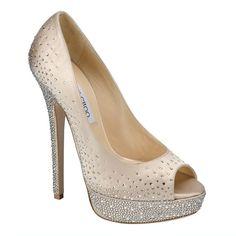 "Great wedding shoe!  ""Sugar"" peeptoe stacked heel,Jimmy Choo"