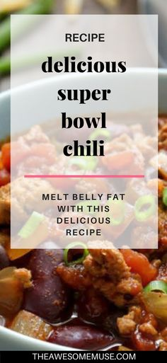 Your Super Bowl Party needs a great recipe for Super Bowl Chili. This easy to make is not only delicious, but it's also an easy to make, healthy recipe. #SuperBowlParty #chilirecipe #chili