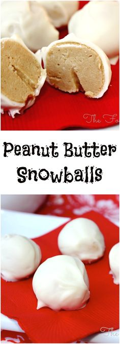 Peanut Butter Snowballs, a creamy treat dipped in white chocolate! No-baking required and just four ingredients are needed to make these. An easy treat to make with kids! (christmas treats to make with kids) Mini Desserts, Holiday Baking, Christmas Desserts, Holiday Treats, Christmas Baking, Just Desserts, Delicious Desserts, Yummy Food, Christmas Recipes