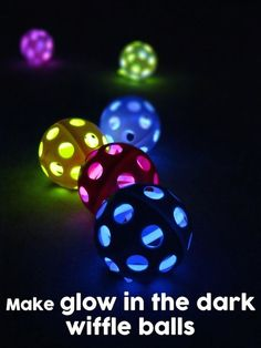 Glow in the Dark Wiffle Balls! An easy DIY craft idea or game for kids. Activate 2 to 3 glow stick bracelets or necklaces and stick inti the wiffle balls