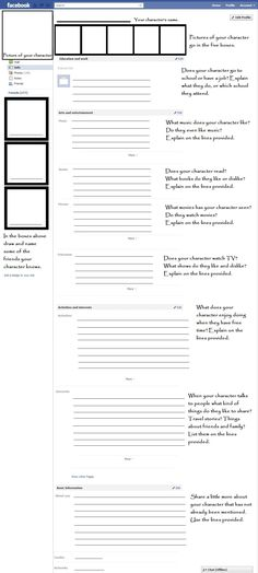 Facebook profiles for character development. Are your students writing short stories? The students can create their main characters identity by filling out a Facebook profile! Facebook, writing and character development, oh my!