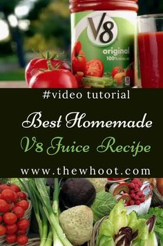 Homemade Juice Recipe Video Instructions It's the best way to get a big dose of veggies, every single way and today we show you how to make the Homemade Juice Recipe and it's so much healthier than store bought. Watch the video tutorial now. Homemade Tomato Juice, Tomato Juice Recipes, Veggie Juice, Detox Juice Recipes, Healthy Juice Recipes, Juicer Recipes, Healthy Juices, Canning Recipes, Detox Juices