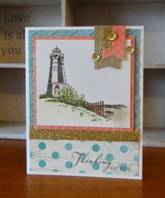This card feature the Seaside Paper Packet, Seaside Greetings Stamp Set, Cocoa Exclusive Inks Stamp Pad, CTMH Watercolour Pencils, Gold Shimmer Trim and Gold Sequins. Designed and created by Denise Tarlinton, CTMH Manager http://scrapstampshare.blogspot.com.au