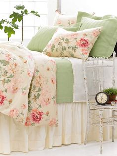 Pink, green, white bedroom...I really like this mix of colors...The green is soft and inviting