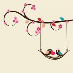 Fundo dos namorados plano com pássaros românticos