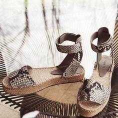 platform snake print sandals