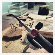 @pepperbushjewelry Getting ready to start a new day with my trusty friend. #pepperbushjewelry #lovemyjob #handmade #handmadejewelry #sterlingsilver #art #artjewellery #endlesspossibilities #onthebench #metalmakesmesmile #hammersandfire #instasmithy #jewelersofinstagram #riojeweler
