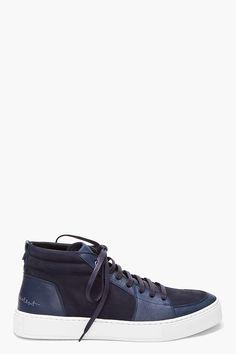 Yves Saint Laurent Navy Mid Malibu Sneakers