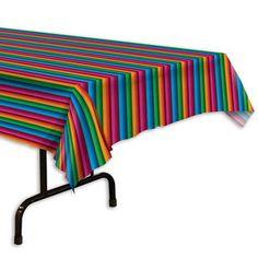 Een plastic tafelkleed bedrukt in een Mexicaanse print. Afmeting: 270 x 135cm. Perfecte decoratie voor <br>Mexicaanse feesten. Ook te gebruiken als achtergrond decoratie! themafeesten mexicaans