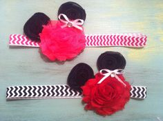 Mickey Mouse Bow-Minnie Mouse Bow-Disney Headband-Baby Girl Headband-Girls Headband-Minnie Mouse Headband-Chevron Headband-Infant Headband. $10.00, via Etsy.