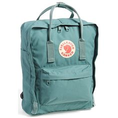 Fjällräven 'Kånken' Water Resistant Backpack ($56) ❤ liked on Polyvore featuring bags, backpacks, accessories, backpack, fillers, frost green, padded backpack, backpack laptop bag, green laptop bag and fjällräven
