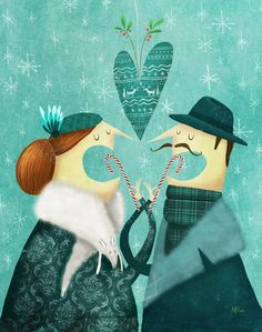 Marie-Eve Tremblay art illustration, candy canes under the mistletoe
