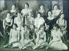 This pic is of an all-girl saxophone (with 1 clarinet) band from the 1920's(?). This band has everything from a soprano all the way down to a bass sax. The clarinet appears to be an Albert system instrument.