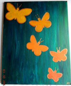 The artist paints this design in colors to order. Orange and yellow with accents of hot pink and purple or maybe turquoise would be pretty. Original abstract butterfly painting. by ArtByAYeager on Etsy, $45.00
