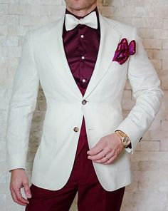 S by Sebastian Burgundy Dress Shirt - Maroon Dress Mens Wedding Attire Summer, Prom Suits For Men, Tuxedo Wedding, Wedding Suits, Mens Fashion Suits, Mens Suits, Fashion Outfits, Costume Africain, Men Dress
