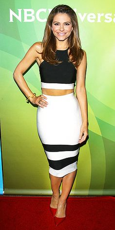 MARIA MENOUNOS | The body-con-loving TV host chooses a Misha Collection bandage crop top and pencil skirt for the NBCUniversal Summer Press Tour in Beverly Hills.