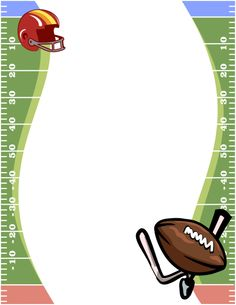 Page border featuring a football field, helmet, and ball. Free downloads at http://pageborders.org/download/football-border/