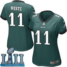 ff70526d0a3 Women Nike Philadelphia Eagles  11 Carson Wentz Green 2018 Super Bowl LII  Game Jersey