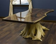 Black Walnut and Rustic Cedar Stump Dining Table