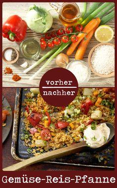 http://eatsmarter.de/rezepte/gemuese-paella-ofen Dieses leckere Gemüsepfanne wird im Ofen gemacht und schmeckt einfach nur köstlich. Kohlrabi, Paprika und Möhren und Reis werden u.a. dafür verwendet.
