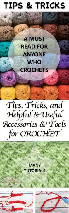 Tips, Tricks and Helpful and Useful Accessories and Tools for Crochet Tips, Tricks and helpful and useful accessories and tools for crochet - Collection made by Nicki's Homemade Crafts Stitch Crochet, Knit Or Crochet, Crochet Crafts, Crochet Hooks, Crochet Projects, Crotchet, Crochet Ideas, Crochet Tutorials, Yarn Crafts