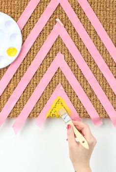 DIY Geometric Welcome Mat - TAPE OFF DESIGN; BEST TO START W/LARGEST PART & GO SMALLER