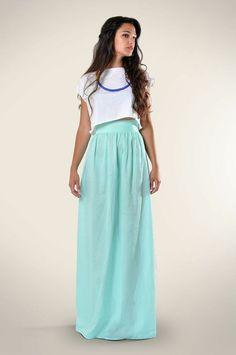 Aqua Maxi Skirt, #cute #girly