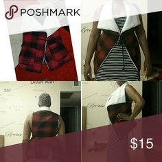 Lumberjack style vest Red black and white soft collar belted vest Jolt Jackets & Coats Vests