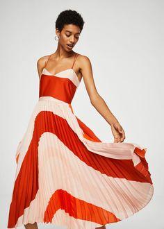 Plisserad tvåfärgad klänning -  Damer | MANGO Sverige
