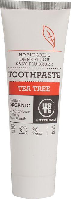 Tea Tree Organic Toothpaste by Urtekram Organic Toothpaste, Beauty Case, Skin Food, Oral Hygiene, Teeth Cleaning, Hair Oil, Tea Tree, Natural, Health And Beauty