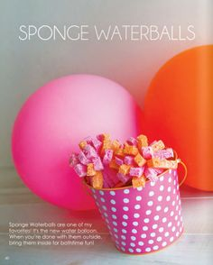 Sponge Waterballs from The Party Dress Magazine. Summer Activities For Kids, Summer Kids, Hello Summer, Projects For Kids, Diy For Kids, Kids Fun, Water Balloons, Party Entertainment, Pen And Paper