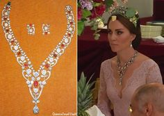 This necklace was one of the Queen's wedding gifts from her parents, King George VI and Queen Elizabeth. It was part of the Greville bequest, the collection of jewelry left to Queen Elizabeth by the Hon. Mrs. Ronald Greville when she died. Mrs. Greville purchased the necklace from Boucheron in 1907.