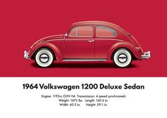 1960 Digital Art - 1964 Volkswagen 1200 Deluxe Sedan - Ruby Red by Ed Jackson