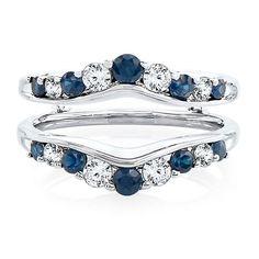 1/2 ct. tw. Diamond & Blue Sapphire Ring Enhancer in 14K White Gold - 2145837