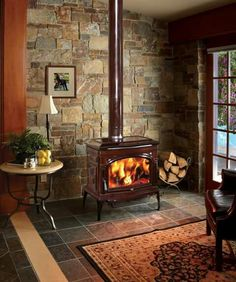 Wood Stove & Gas Logs, Fireplace installation - Covington Hearth & Home, Inc - Covington, Ga Wood Stove Decor, Wood Stove Wall, Corner Wood Stove, Wood Stove Surround, Wood Stove Hearth, Wood Burner Stove, Log Burner, Gas Stove, Rustic Fireplaces