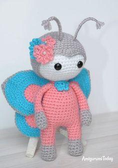 Amigurumi doll in butterfly costume pattern / tutorial - free crochet pattern