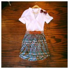 We absolutely love this trendy patterned skirt ($55) with a white button-up shirt ($42), sunglasses ($24) and gold statement necklace ($36). Modern pattern, classic shape.