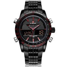 Cool Men Watches NAVIFORCE 9024 Luxury Brand Full Steel Quartz Clock Digital LED Watch Army Military Sport Watch