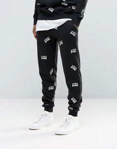 Heros Heroine Skinny Joggers With All Over Print - Black