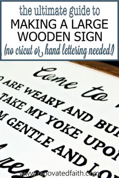 What I wish I'd known sooner about putting any text on a large wooden sign - without a Cricut or hand lettering skills. This is the easiest way to making a large farmhouse sign with free wall art printable templates. This step-by-step tutorial shows you how to make wall art with any quote, saying or Scripture verse These rustic signs look great in your living room, kitchen, bathroom, or entryway. Simply use sharpies instead of paint. Diy Wall Art, Diy Wall Decor, Diy Home Decor, Scripture Wall Art, Scripture Verses, Printable Templates, Printable Wall Art, Rustic Signs, Wooden Signs