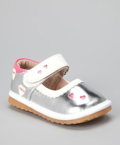 Take a look at this Silver Heart Squeaker Mary Jane by littlebluelamb squeaky shoes on #zulily today!