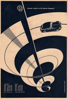 Vintage VW (Volkswagen) ad - car auto - beetle - vw bug advertisement german graphic design - Love the swirl, very eye catching. Poster Design, Graphic Design Posters, Graphic Design Typography, Graphic Design Illustration, Graphic Design Inspiration, Graphic Art, Vintage Advertisements, Vintage Ads, Vintage Posters