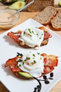 Poached Eggs on Toast with Chipotle Mayo, Bacon and Avocado.