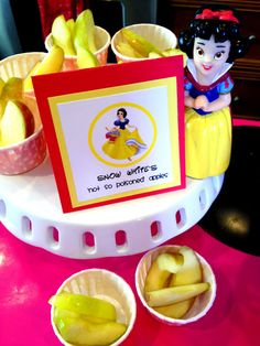 Princess Birthday Party Food - Snow White Apples this is cute but I would cover them with caramel or something sweet!!