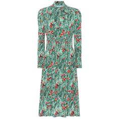 Prada Printed Silk Dress ($2,245) ❤ liked on Polyvore featuring dresses, green, green silk dress, green dress, prada, prada dresses and green color dress