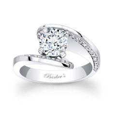 Diamond Engagement Ring - 7864LW - A modern twist on a vintage bypass ring this diamond engagement ring is a dazzler.  The prong set round diamond center nestles between the split flared shanks, with pave-set diamonds artfully adorning the inside ridges for a stunning dramatic flair.    Also available in yellow gold, 18k and Platinum.