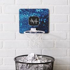 Beautiful blue sparkles Frozen bubbles Monogram Mini Basketball Hoop - blue gifts style giftidea diy cyo