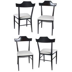 Set of 4 Paul McCobb Pediment top dining side chairs | From a unique collection of antique and modern dining room chairs at https://www.1stdibs.com/furniture/seating/dining-room-chairs/