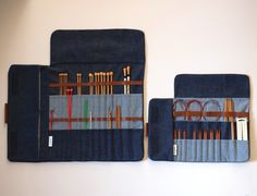 Needle case made of sturdy denim.  This is my version of the best of case. You can put your favorite Needles, Circulars, DPNs, Crochets and everything you need to complete your projects.  It is made to last! Not only because of the strong fabric, but also because of the look. It is