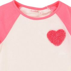 Bicoloured Heart Patch T-Shirt Off white  Billieblush